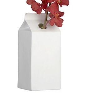 CB2 porcelain milk carton Vase
